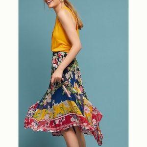 Anthropologie Leora Floral asymmetrical skirt